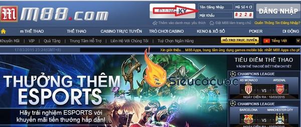 Cá cược thể thao điện tử Esports với M88